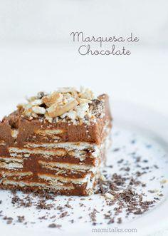 Mami Talks™:  Marquesa de Chocolate 2 1/2 paquetes de galletas Maria 1 1/4 taza de mantequilla  4 yemas  200 gr de chocolate amargo 1 1/2 taza de leche 1/2 kilo de azucar