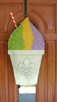 New Orleans Snowball / Snowcone burlap door and wall hanger. $30.00, via Etsy.