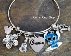 Lilo & Stitch Ohana Heart charm Disney Inspired Bangle Charm Bracelet Ohana Means Family option to personalize laser engraved custom name Disney Charm Bracelet, Disney Jewelry, Lilo Und Stitch Ohana, Bangle Bracelets With Charms, Bangles, Lelo And Stich, Disney Cute, Disney Stich, Cute Stitch
