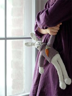 Hop by Susan B. Anderson - pattern includes bunny's sweater. Knit in Blue Sky Alpaca Skinny Cotton