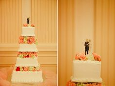 Stunning white wedding cake with vintage cake topper. See more from this vintage Chattanooga wedding with pink details at @TheReadHouseTN! Pics by @runawayalice, cakes by Publix and Sweet Angel Cakes | The Pink Bride www.thepinkbride.com