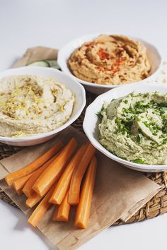 Not one, not two, but THREE delicious and healthy Hummus recipes! An intense hummus-tasting experience that will surely not disappoint you. Dinner Recipes For Kids, Healthy Dinner Recipes, Vegan Recipes, Cooking Recipes, Healthy Hummus Recipe, Vegan Hummus, Healthy Foods To Eat, Healthy Snacks, Healthy Eating