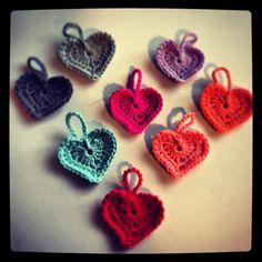 Crocheted tiny hearts