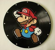 Mario vinyl record clock by VantidusVinylArt on Etsy, $35.00