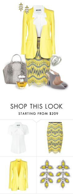"""""""Yellow & Gray Jacquard Pencil Skirt w. White Shirt"""" by franceseattle ❤ liked on Polyvore featuring Moschino, Nicole Miller, Hanita, Giorgio Armani, Elizabeth Cole and Molyneux"""