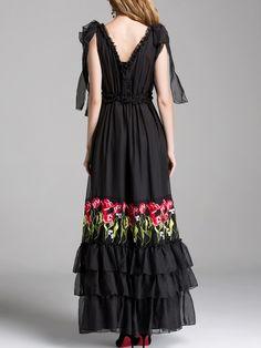 8e8a073884 Double V Frill Trim Full Length Dress -SheIn(Sheinside)   Wedding ...