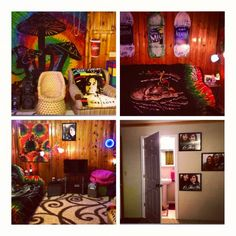 Mushrooms. Bob Marley. Rasta. Hangout room.
