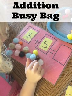 Hands-on addition busy bag for practicing addition concepts and counting skills. This is a great table activity for kindergarten and older preschool aged children-adaptations for preK kids included.