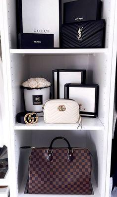 Wardrobe, Closet, Schrank, @my_philocaly Instagram, Pax System, Louis Vuitton Speedy, Louis Vuitton, Gucci Marmont Mini white, Gucci Bag, Gucci Belt, YSL Chain Wallet, Saint Laurent Bag, Blossom Box Roses #luxurywardrobe