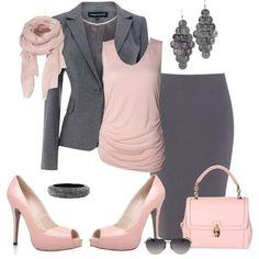 Office set_pastel pink+grey
