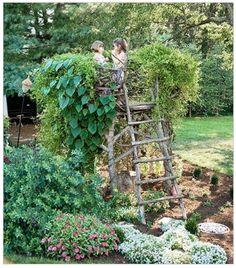 "When y'all move here I think this is where we should read The Secret Garden w/ Caroline ( w/ tea and fancy hats, of course) Children's garden ""nest"" Tower Garden, Garden Art, Kid Garden, Garden Ladder, Garden Nook, Family Garden, Balcony Garden, Farm Gardens, Outdoor Gardens"
