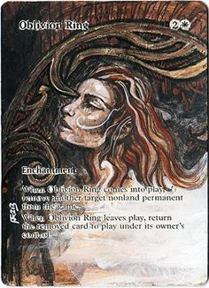 Oblivion ring altered mtg card by artist ondalthefool http://www.squidoo.com/magic-the-gathering-altered-art-cards #mtg #magic #magicthegathering #painting #geek #alteredart