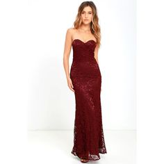 Inherent Beauty Burgundy Lace Strapless Maxi Dress ($109) ❤ liked on Polyvore featuring dresses, gowns, red, long maxi skirts, white lace maxi skirt, white maxi skirt, maxi skirt and red evening gowns