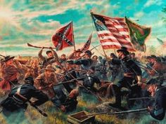 The battle of Gettysburg, Pickett's Charge. Had it not been for Gettysburg and Vicksburg, perhaps there never would have been a Graycoat for Jenna and Jack to stumble into. Military Art, Military History, American Civil War, American History, American Soldiers, American Pride, Art Of Dan, Gettysburg Battlefield, Civil War Art