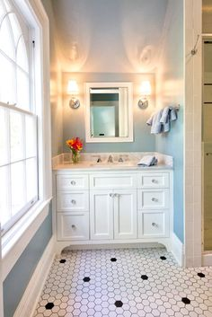 Another blue, white & silver - Hexagon Tile Floor Bathroom Design, Pictures, Remodel, Decor and Ideas - page 9