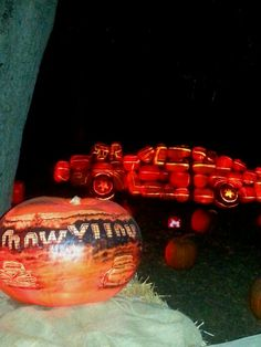 Cool muscle car made entirely out of Jack o lanterns