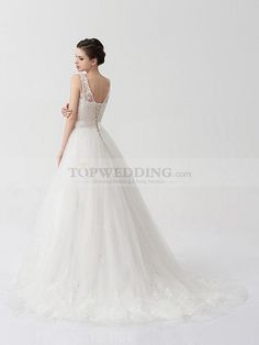 Sleeveless Tulle over Satin A Line Wedding Dress with Appliques