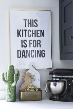 Brass kitchen accessories with a bold typography print, great for adding character to a kitchen. Retro Furniture, Painted Furniture, Blog Design Inspiration, Large Beds, Open Plan Kitchen, Kitchen Ideas, Bold Typography, Diy Home Crafts, Room Colors
