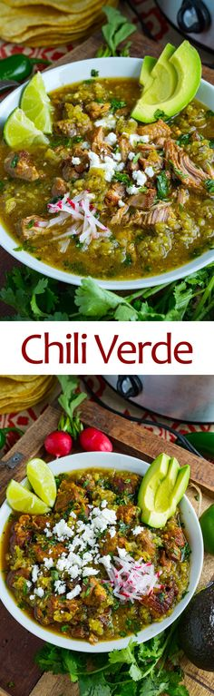 Chili Verde Recipe : A Mexican style pork stew in a tasty salsa verde that is slowly braised until the pork melts into your mouth! Chili Verde Recipe, Chili Recipes, Pork Recipes, Slow Cooker Recipes, Cooking Recipes, Healthy Recipes, Recipies, Cooking Tips, Tomatillo Recipes