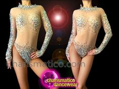 CHARISMATICO Nude Illusion Crystal And Silver Sequin Accented Dance Leotard #CHARISMATICO