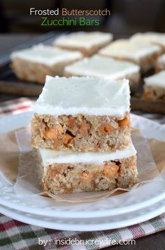 Frosted Butterscotch Zucchini Bars - zucchini and oatmeal bars loaded with butterscotch chips and frosting