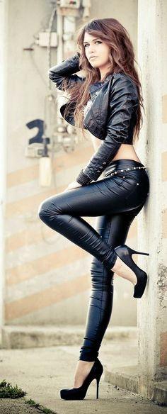 Black leather pants jacket street fashion