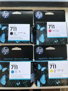 GENUINE HP 711 INK CARTRIDGES, BLACK, CYAN, YELLOW, MAGENTA Exp 2021 #HP