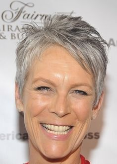 You can't talk about short gray hair without mentioning Jamie Lee Curtis: her salt-and-pepper pixie is both natural-looking and flattering
