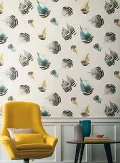Moabi Wallpaper by Casamance Watercolor Wallpaper, Wall Wallpaper, Feather Wallpaper, Casamance, London Design Festival, Wall Finishes, Feather Design, Designer Wallpaper, Decoration