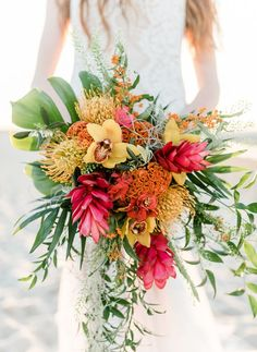 Red yellow and green tropical bouquet Tropical Wedding Theme Tropical Wedding Ideas Tropical Wedding Inspiration Tropical Wedding Styling Tropical Wedding Ceremony Tropical Wedding Reception Tropical Wedding Destination Wedding by Sail and Swan Tropical Wedding Bouquets, Beach Wedding Flowers, Hawaii Wedding, Floral Wedding, Beach Weddings, Wedding Beach, Destination Weddings, Tropical Weddings, Spring Wedding