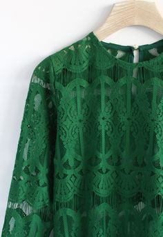 Sheer Baroque Lace Top in Green - Retro, Indie and Unique Fashion