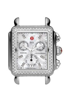 MICHELE 'Deco Diamond' Diamond Dial Watch Case, 33mm x 35mm available at #Nordstrom