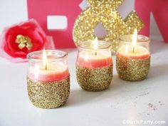 DIY Pink Candles & Glitter Candle Holders Tutorial