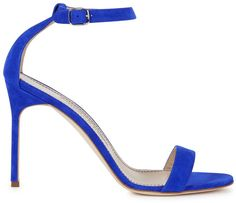 Manolo Blahnik Chaos blue suede sandals on shopstyle.co.uk