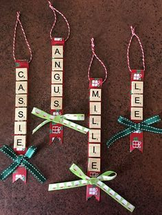 Made to order hanging Christmas decorations with names made with scrabble tiles. Bow at the bottom. Made to order hanging Christmas decorations with names made with scrabble tiles. Bow at the bottom. Christmas Ornament Crafts, Christmas Crafts For Kids, Holiday Crafts, Christmas Decorations, Xmas Crafts To Sell, Nativity Ornaments, Christmas Ideas, Christmas Gifts For Coworkers, Diy Christmas Gifts