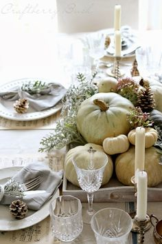 This week was creating a Thanksgiving Table decoration. I've made this elegant white and shiny fall decor table setting that gave me the idea to collect a couple of fall decor with these colors. Thanksgiving Table Settings, Thanksgiving Tablescapes, Thanksgiving Decorations, Seasonal Decor, Diy Thanksgiving, Holiday Tables, Christmas Tables, Turkey Decorations, Fall Home Decor