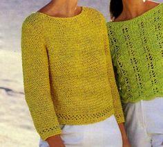 Ecco a voi una maglietta gialla lavorata a punto fantasia e bordure a punto traforato: si tratta di un lavoro abbastanza semplice, sicuramente un gioco da ragazze per le veterane di lavori a maglia. Vogue Knitting, Summer Knitting, Knit Fashion, Knitting Designs, Lana, Knit Crochet, Knitting Patterns, Men Sweater, Crop Tops