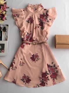 Dusty Rose w/ Mauve Floral | Ruffle Shoulder | High Neck |  Tan Belt | Flowy Bottom | Short Dress