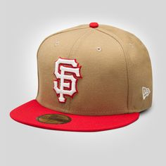 04db21e52bf Upper Playground - SF Giants New Era Fitted Cap in Khaki Red