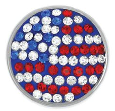 Show your American spirit with this beautiful USA Flag Sugar Snap from the Ginger Snap Jewelry collection.  Comprised of over 75 individually placed crystals, this Ginger Snap is going to shine.  Looks beautiful on the Bling Gingersnap necklace