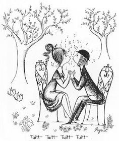 Les amoureux de Peynet featured in our Peynet book. Illustrators, Illustration, Drawings, Artist, Graphic Design Print, Whimsical Art, Kinder Art, Kiss Illustration, Vintage Lettering