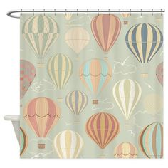 Vintage Hot Air Balloons Shower Curtain by Daecu - CafePress Custom Shower Curtains, Fabric Shower Curtains, Retro Curtains, Custom Area Rugs, Hot Air Balloon, Throw Rugs, Fabric Decor, Rug Making, Balloons