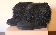 71b17663651b UGG Sheepskin Women s Short Cuff Mongolian Boot Black 1092149 Size 10 NEW   UGGAustralia  MidCalfBoots