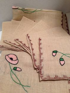 Table Cloth And Napkins Embroidered Card Table by missenpieces