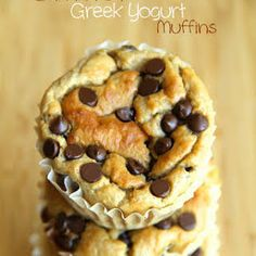 Banana Oat Greek Yogurt Muffins with Plain Greek Yogurt, Bananas, Eggs, Rolled Oats, Brown Sugar, Baking Powder, Baking Soda, Chocolate Chips.