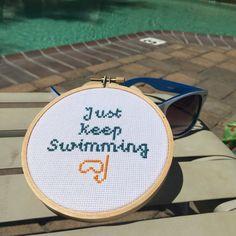 Just Keep Swimming - Finding Nemo - Finding Dory - Scuba - Snorkeling - Custom Cross Stitch
