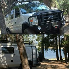 Sportsmobile owner out exploring. Found a great spot to camp! Aluminess gear along for the ride. #roofrack #bumpers #ladder