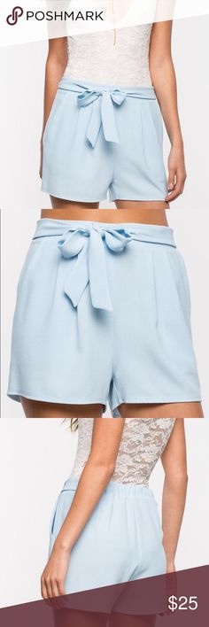 Pastel baby blue high waisted shorts LF Tobi bcbg NEW WITH TAGS. ***BOUTIQUE BRAND**** not Zara! PRICE IS FIRM. I WILL RETURN IT IF IT DOES NOT SELL BY FRIDAY  cute high waisted pastel baby blue shorts. Zara Shorts