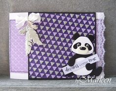 Handmade card by DT member Marleen with Collectables Eline's Panda & Bear (COL1409), Craftables Dreamcatcher (CR1373) and Design Folder Extra - Triangles (DF3428) from Marianne Design