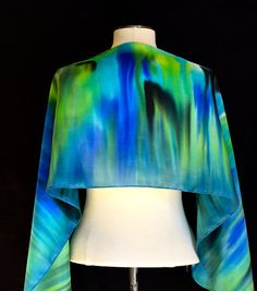 Silk scarf hand painted abstract design in by FantasticPheasant, $40.00
